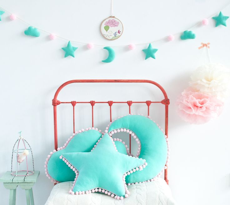 Set of mint pillows with pompoms. Star, cloud and moon pillow. Available with garland in the same color. Beautiful room decoration. For kids and adults.