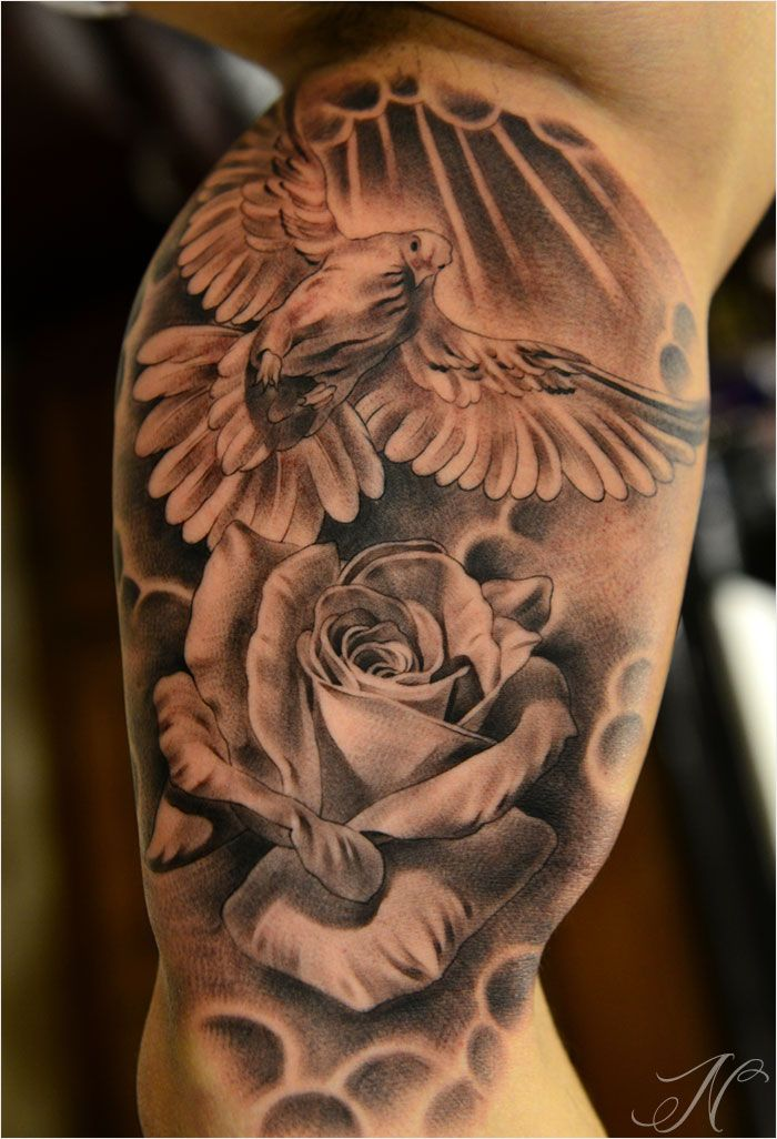 black and grey rose tattoo - Google Search