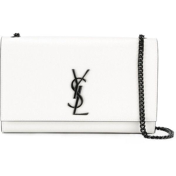 Saint Laurent medium Kate Monogram satchel bag (6.275 BRL) ❤ liked on Polyvore featuring bags, handbags, bolsa, purses, white, handbag satchel, man satchel bag, white hand bags, white purse and yves saint laurent handbags