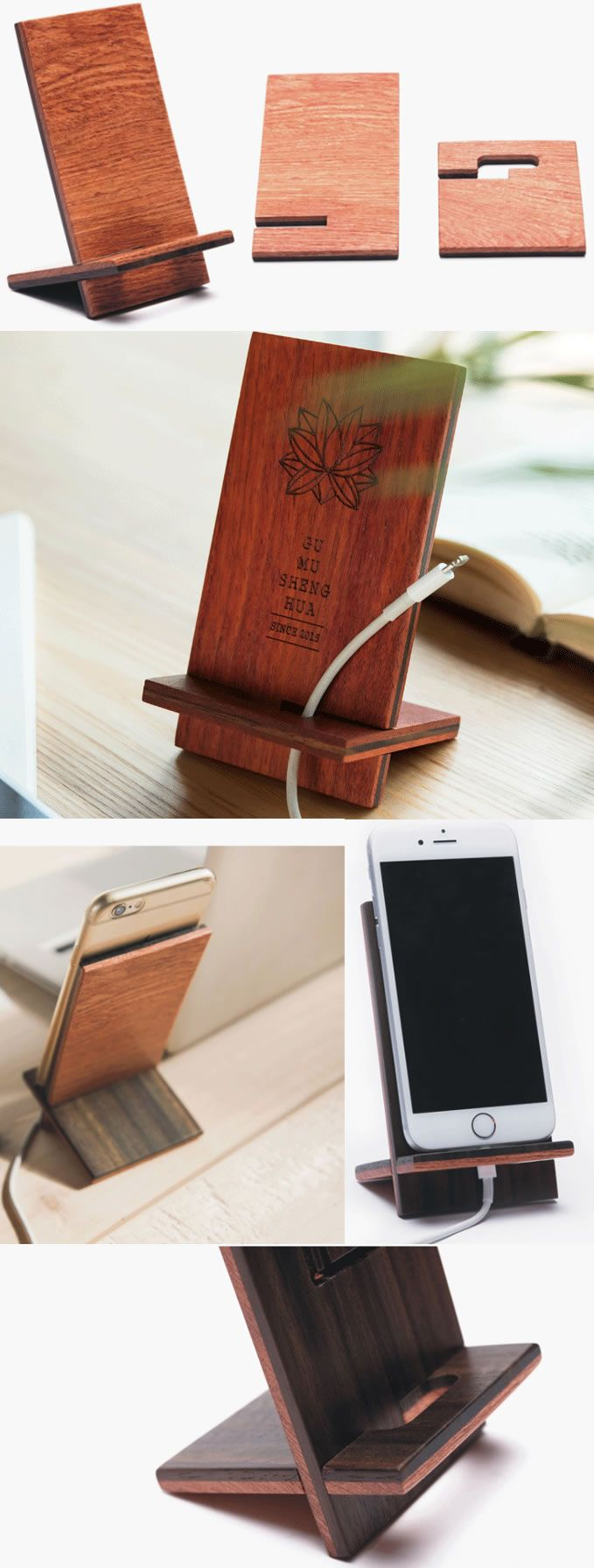 wooden bamboo charge cord cable organizer cell phone