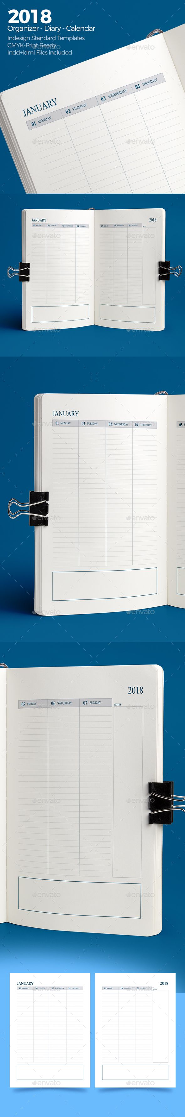 Weekly Diary Planner 2018 v4 - #Calendars #Stationery