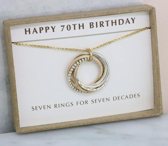 70er Jahre Geburtstagsgeschenk 7 Ringe Halskette 70er Jahre