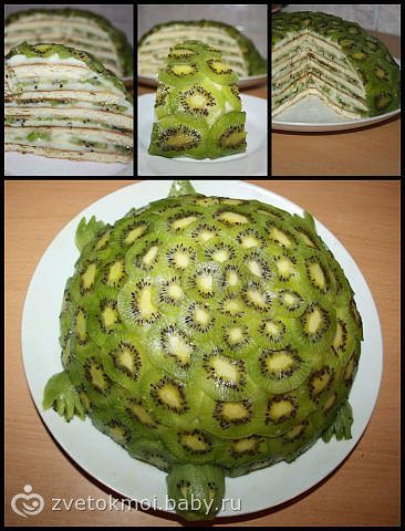 This would be so cute and easy, just bake a cake in a mixing bowl & cover with kiwi slices