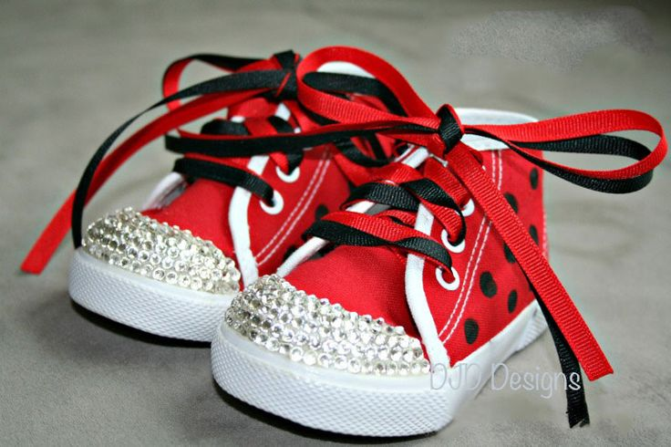 Little Ladybug Bling High top Canvas Shoes