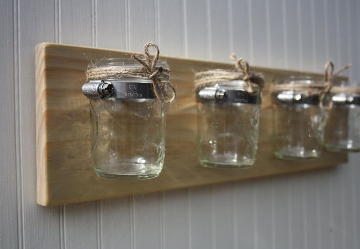 Four Jar Wall Vase - Mason Jar Wall Storage - Cottage Home Decor. $29.00, via Etsy.