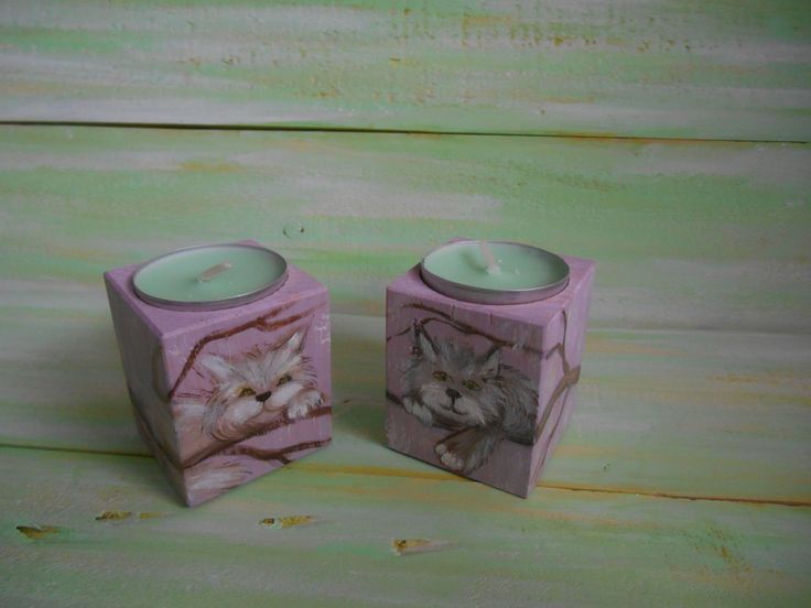 Candle Holders Set Wood candlesticks Cats ornament Country Rustic Tealight decor Cottage night light Table centerpieces Valentine gift by MilaPollyart on Etsy
