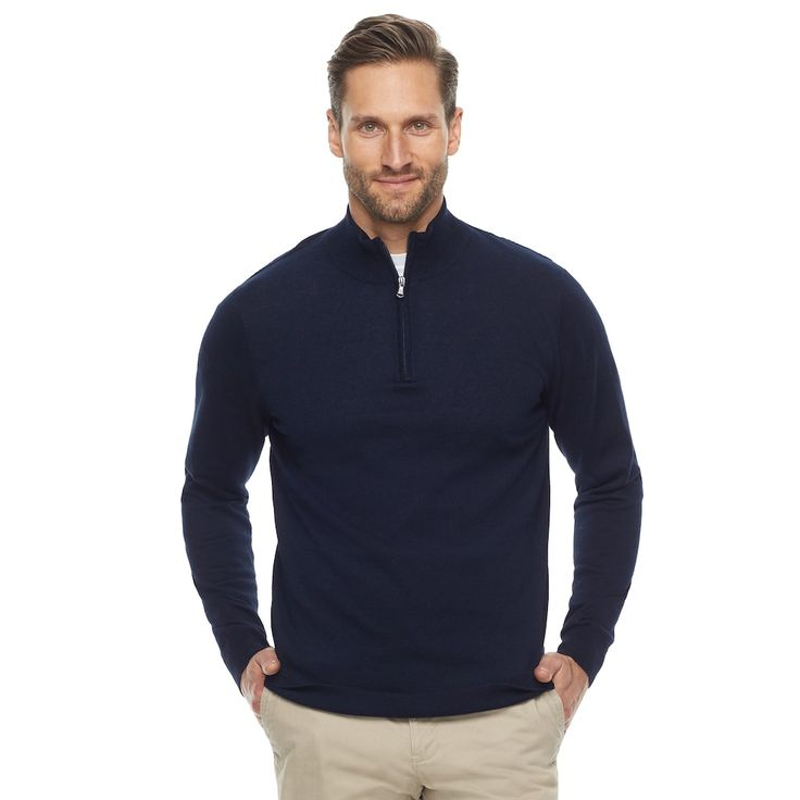 Men's Croft & Barrow Thermolite Quarter-Zip Sweater, Blue (Navy)