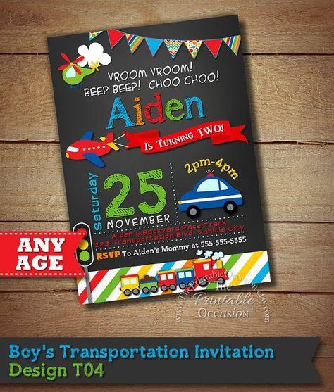 SALE!! Transportation Invitation, Transportation Birthday, Cars Trucks Planes Invitation, Transportation Party, Chalkboard Invitation, DIY
