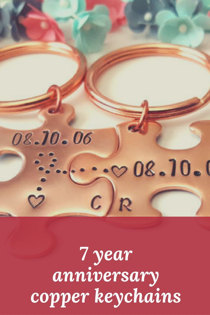 Wow..you've reached your 7th wedding anniversary with your partner. These copper personalised keychains are perfect to mark the special occasion #anniversary #keychains #wedding #copper #afflink