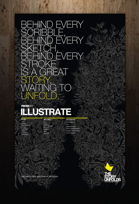 One of my favorite designs. Typefaces very well thought out and adding the yellow type makes the information have style. Column layout is very effective. Black background with this texture makes the whole design stand out.