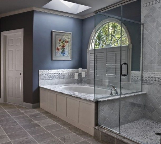 images of blue and gray bathrooms | Colours: White, light gray, light blue, blue