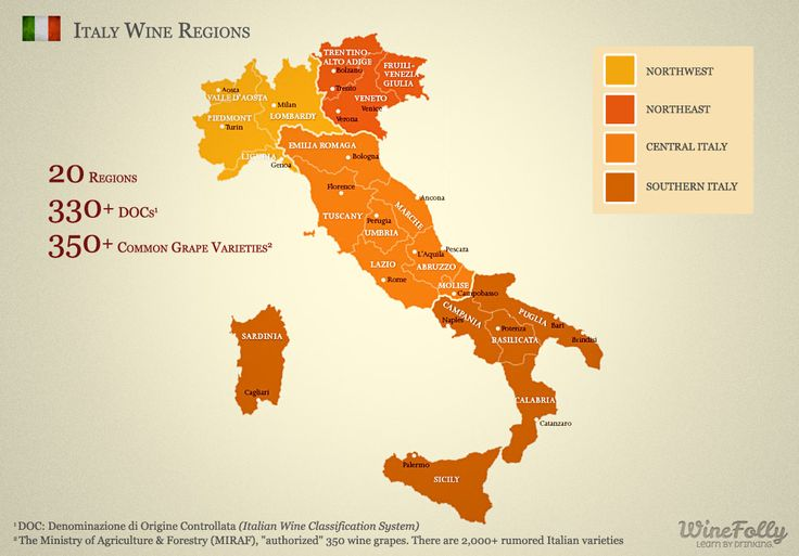 20 Italian Wine Regions - After the click a lot of information about italian wine by @Wine Folly
