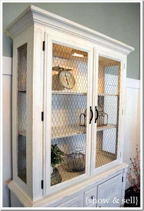 Best 25 china cabinet redo ideas on pinterest painted for Chicken wire kitchen cabinets