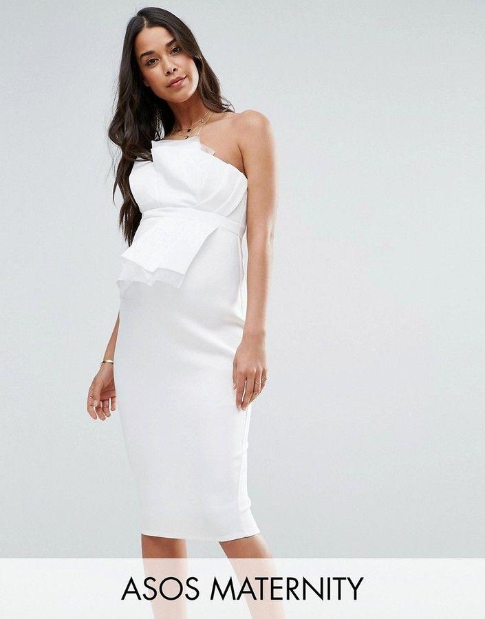 ASOS Maternity Scuba Bandeau Midi Dress with Organza #affiliatelink