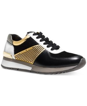 Michael Michael Kors Allie Trainer Sneakers - Gold/Black Leather 6.5M