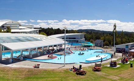 $43 family pass, Taupo central AC Baths.  Featuring both thermal and mineral hot and warm pools with completely natural water, AC Baths is slice of swimming heaven. Just sit back and relax while your every care and worry is washed away. Fancy a swim outside? Take a dip in the huge outdoor leisure swimming pool. Twist, turn and hurtle down the hydro slides—you'll have so much fun watching the kids let off steam, you're sure to want to join in too.  Show Less