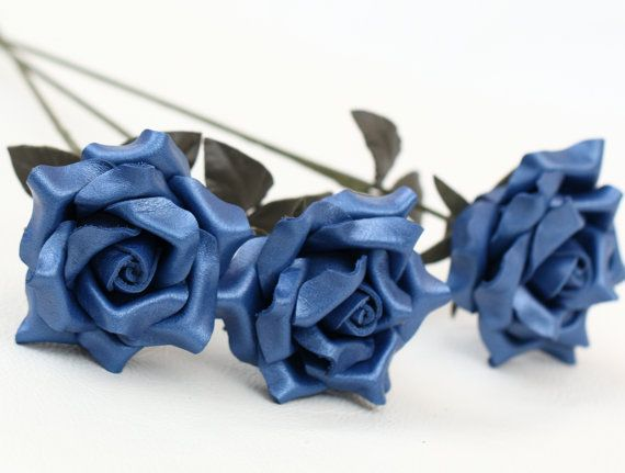 3 blue leather rose bouquet third Anniversary Gift Wedding Long Stem leather Flower Valentine's Day 3rd Leather Anniversary Mother's Day
