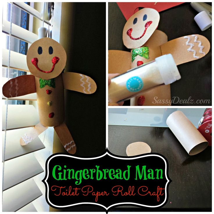 Gingerbread Man Toilet Paper Roll Craft For Kids (Cute Christmas Art Project!) #Christmas craft for kids | CraftyMorning.com