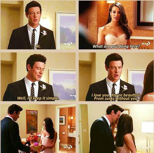 """Well I'll keep it simple. I love you. You're beautiful."" aww <3 Finn and Rachel. #finchel #glee"