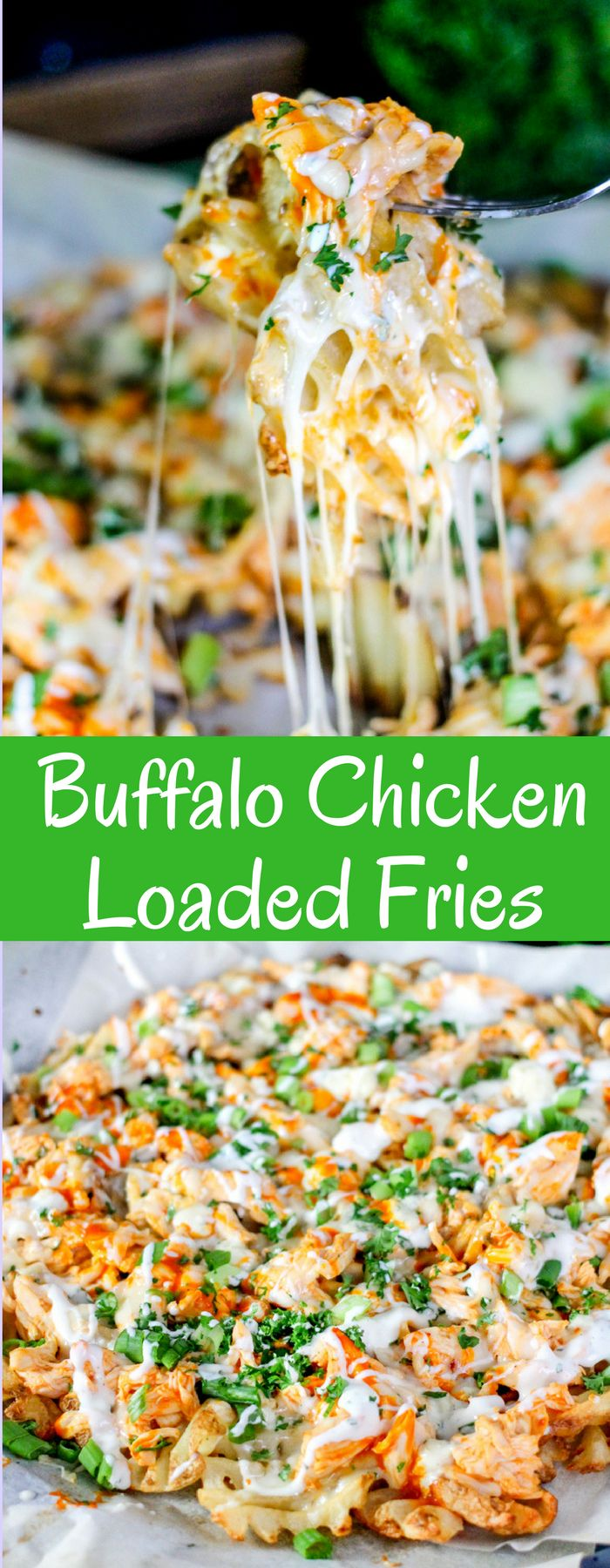Waffle fries loaded with shredded buffalo chicken, bleu cheese, buffalo sauce, more cheese, and ranch make the most epic Buffalo Chicken Fries EVER!