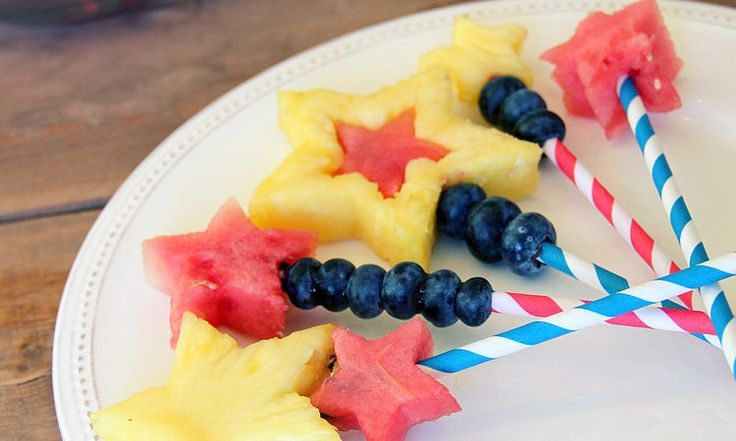 Star-Shaped Fruit Pops with blueberries, watermelon, and pineapple