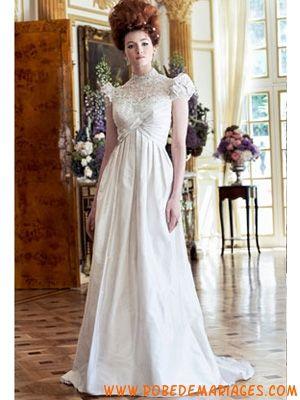 Robe de mariée Empire taffetas avec manches ballons