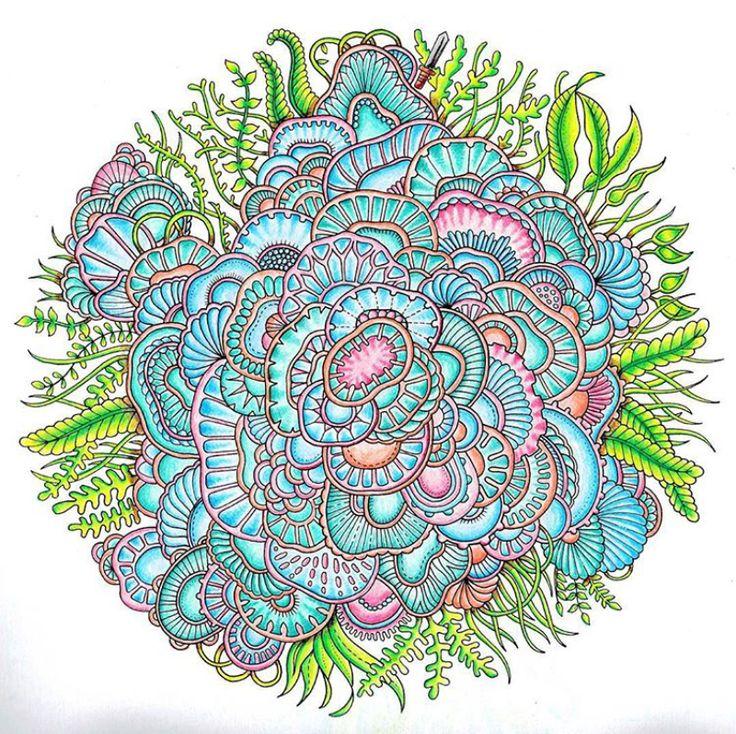 Inspiracao Lost Ocean MandalaColor BugJohanna Basford Coloring BookJoanna BasfordJohanna Secret GardenDrawingDoodle
