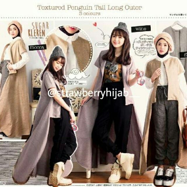 Tesalina Long Cardi ●IDR 96rb --> 86rb down to 82rb ●Bahan katun serat rami ●Allsize fit to L ●Warna mocca, grey, wine  Visit ig: @strawberryhijab__ / bukalapak: strawberryhijab