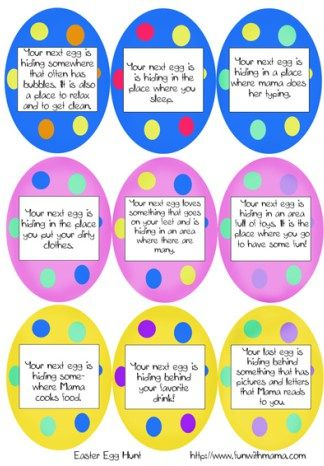 I've put together a printable Easter Egg Hunt Clues Activity perfect for toddlers and preschoolers. Older children can enjoy this one too because I have included some blank eggs for you to customize it! My 7 and 9 year old LOVE creating hunts for us using this printable activity.They have so much fun with it and it inspires...Read More »
