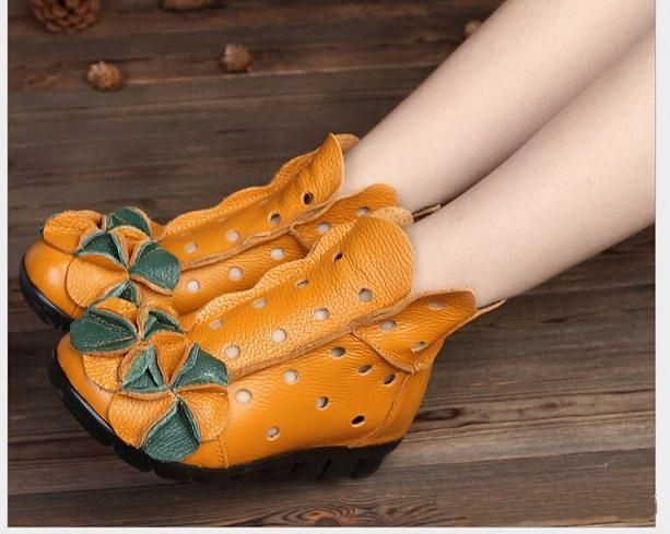 32.80$  Buy here - http://alir0u.shopchina.info/1/go.php?t=32771965632 - New Arrival 2017 Fashion Women Spring And Summer Winter Genuine Leather Boots Handmade Vintage Flower Ankle Botines Shoes Woman  #magazineonline