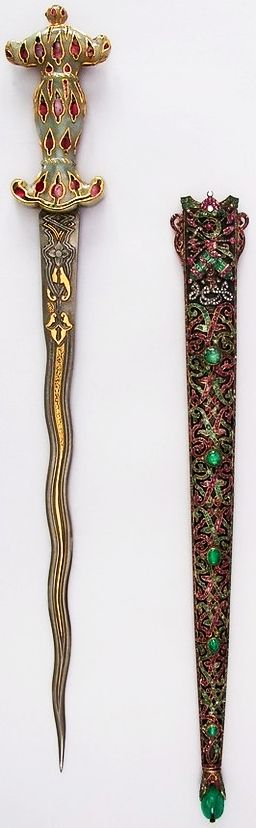 Ottoman dagger,19th century, steel, jade, gold, emerald, diamond, ruby. L. with sheath 22 1/4 in. (56.5 cm); L. without sheath 20 3/4 in. (52.7 cm); L. of blade 15 1/4 in. (38.7 cm); W. 2 13/16 in. (7.1 cm); D. 7/8 in. (2.2 cm); Wt. 14 oz. (396.9 g); Wt. of sheath 9.7 oz (275 g), Met Museum.