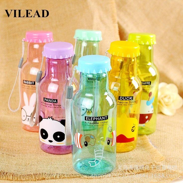 VILEAD Fashion Lovely Cartoon Protable Water Bottle 350ML Transparent Cute Plastic Water Bottle Bike Sports Unbreakable Bottle