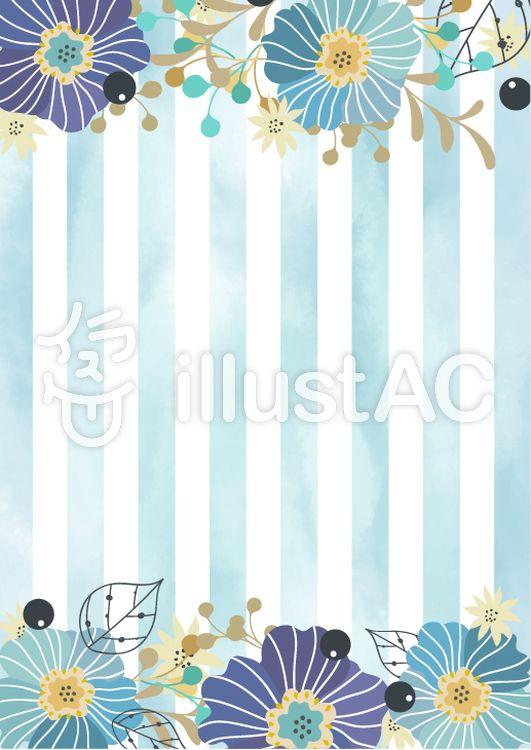 フリー素材青い花飾りのおしゃれなカード フレーム イラスト
