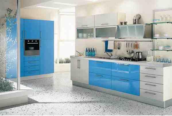 mavi mutfak dolapları