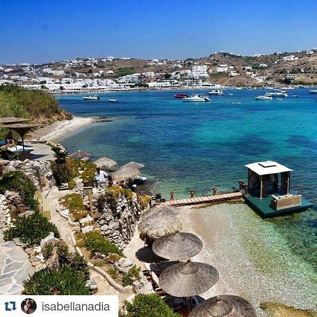 """A view to paradise!"" The crystal blue oasis of Kivotos Hotel Mykonos private ‪‎beach‬ marks the ‪‎summer‬ retreat of our lovely guest Isabellanadia @Instagram."