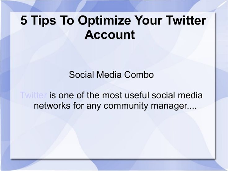 Learn how to optimize your Twitter account with these 5 tips from experts. Twitter optimization strategies from http://socialmediacombo.com