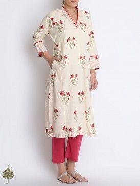 Red-Cream Block Printed Cotton Kurta with Pockets by Jaypore
