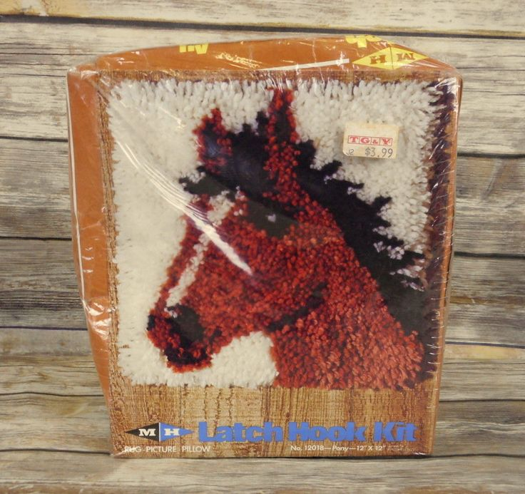 Pony Latch Hook Kit Horse Western Cowboy Vintage Craft Rug Pillow Wall Hanging  #MHYarns