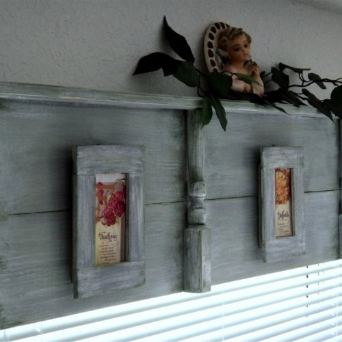 Wooden Window Cornice Or Headboard With Display Shelf And Primitive Picture Frames Rustic