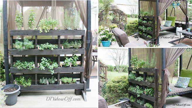 Support pour herbes aromatiques en palettes de bois