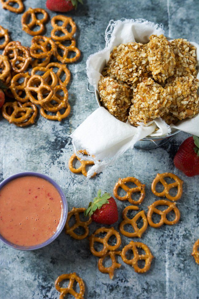 Honey Mustard Pretzel Crusted Chicken Bites with Strawberry Dijon Dipping Sauce