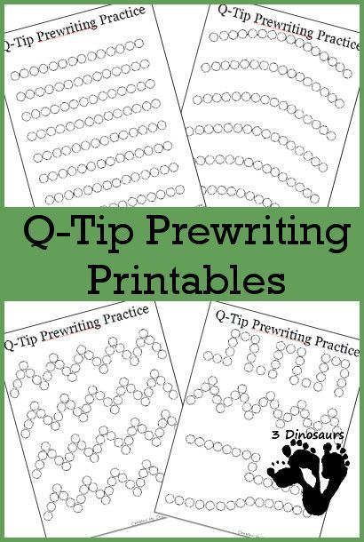 Preschool homeschooling- free q tip painting printables- helps learn to write
