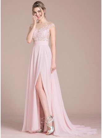 A-Line/Princess Scoop Neck Sweep Train Split Front Zipper Up Covered Button Cap Straps Sleeveless No Blushing Pink Spring Summer Fall General Plus Chiffon Height:5.7ft Bust:33in Waist:24in Hips:34in US 2 / UK 6 / EU 32 Prom Dress