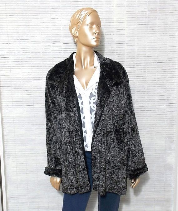 80s black & white faux fur coat funky crushed velvet by IuSshop