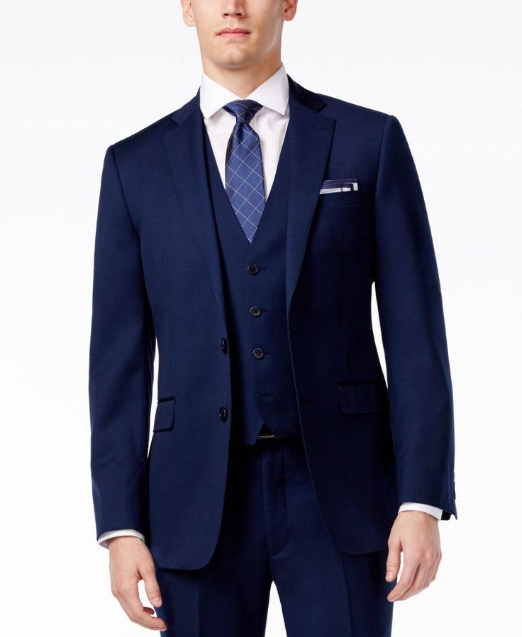Calvin Klein X Navy Vested Extra Slim-Fit Suit - Suits & Suit Separates - Men - Macy's