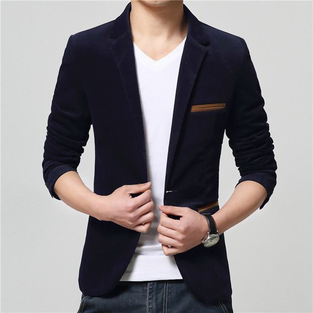 One Button Fitness Corduroy Jackets Men Long Sleeve Office Work Slim Brand Blazers Mens Fashion Plus Size Lapel Coats Black Red