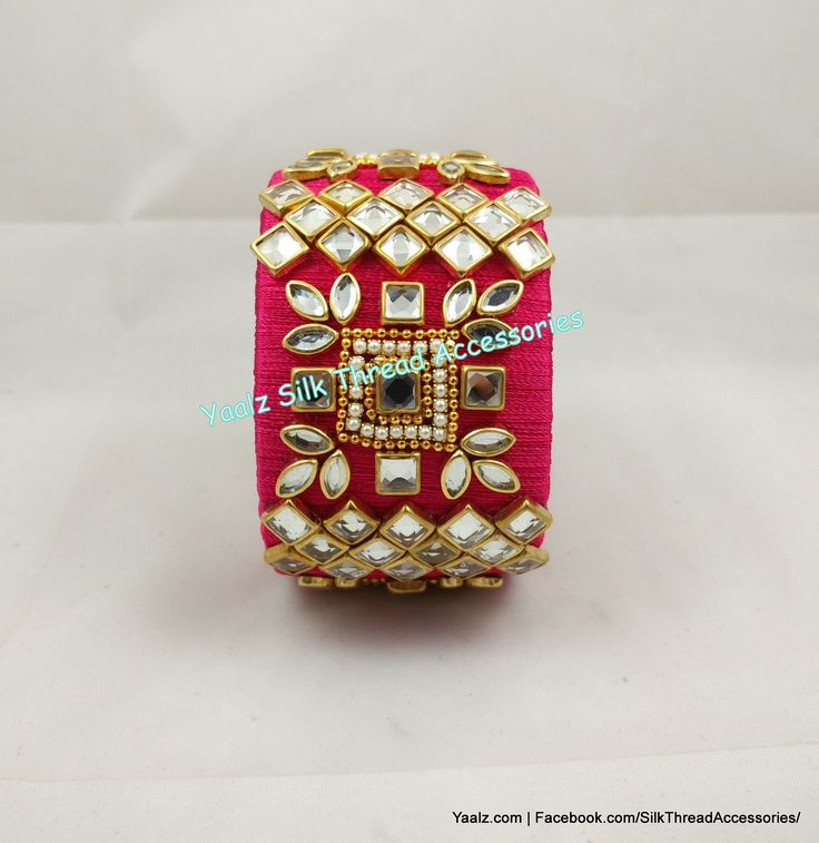 Yaalz Kundan Stone Jumbo Kada In Pinkish Red Color !! Price Rs.750 Per Pair For Orders Ping Us In WhatsApp +91 8754032250