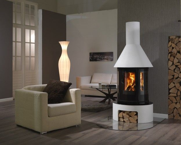 Vermont 5kW freestanding wood stove with stone-effect base and chimney