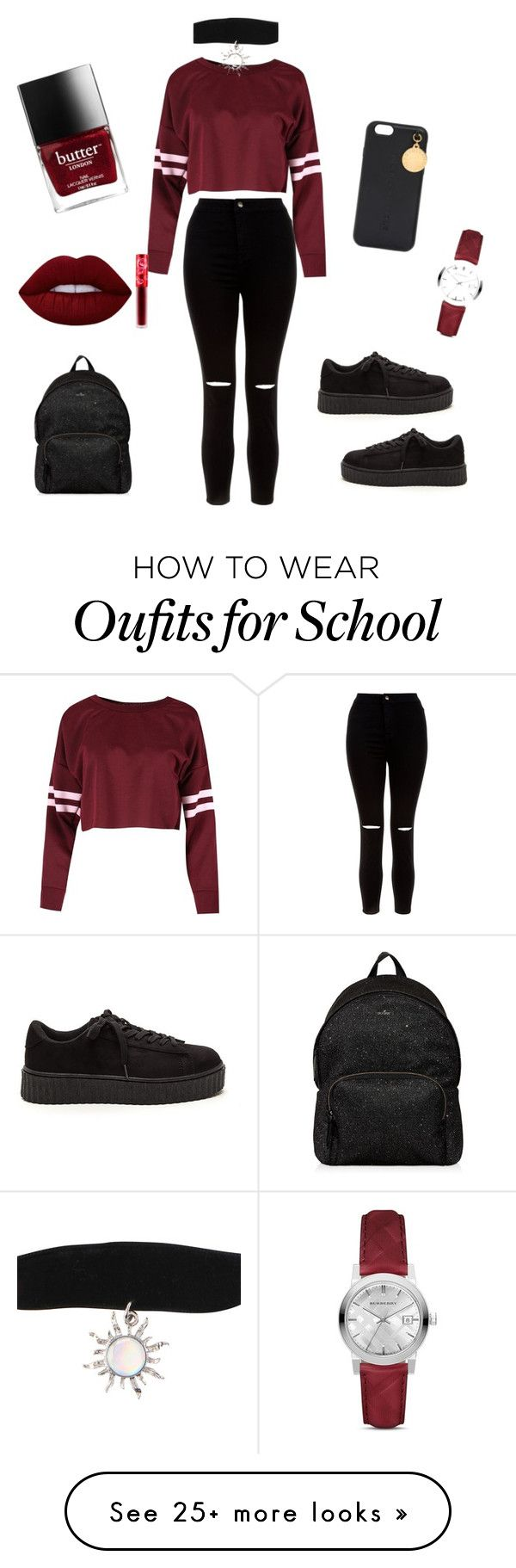 Matte   Back to school  by mila-iskandarov on Polyvore featuring New Look, Lime Crime, Hogan, Burberry and STELLA McCARTNEY ,Adidas shoes #adidas #shoes