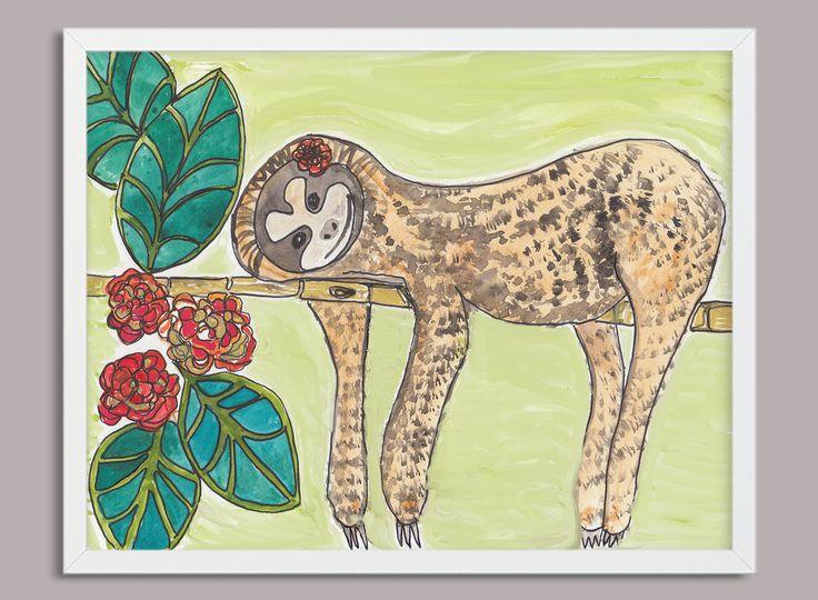 Sloth Digital Print, Sloth Print, Printable Art, Instant Print, Sloth Watercolour Printable download, Sloth Download Print, Home Decor, by PaperJamink on Etsy